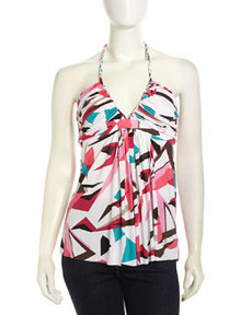 T Bags Halter Graphic-Print Stretch Blouse, White/Black/Multi