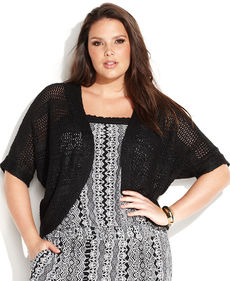 INC International Concepts Plus Size Short-Sleeve Open-Knit Cardigan