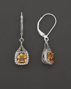Badgley Mischka Citrine Drop Earrings With White And Brown Diamonds