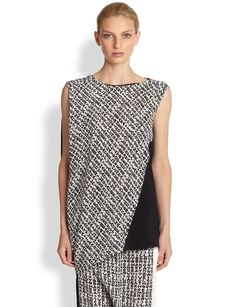 Costume National Typography Print Silk Top