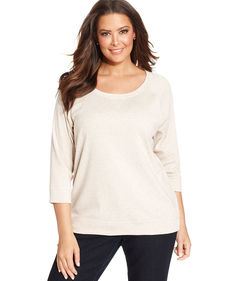 Style&co. Sport Plus Size Three-Quarter-Sleeve Sweatshirt