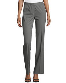 Lafayette 148 New York Center-Pleat Stretch Suiting Pants, Shale