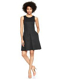 Sleeveless sateen fit & flare dress
