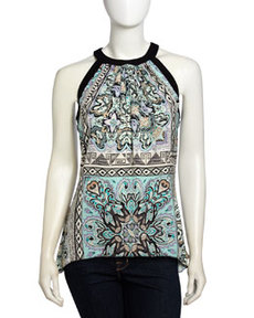 Laundry by Shelli Segal Asymmetric Bermuda Print Halter Top