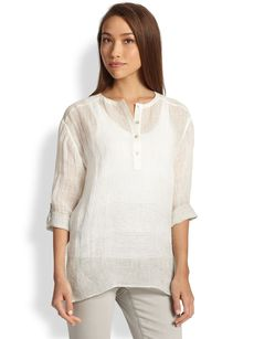 Eileen Fisher Linen Striped Henley Top