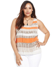 Alfani Plus Size Sleeveless Striped Pleated-Front Blouse