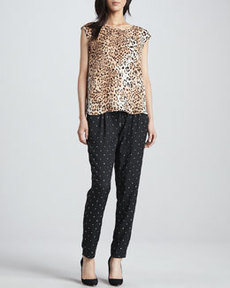 Joie Sayla Metallic Square-Print Pants
