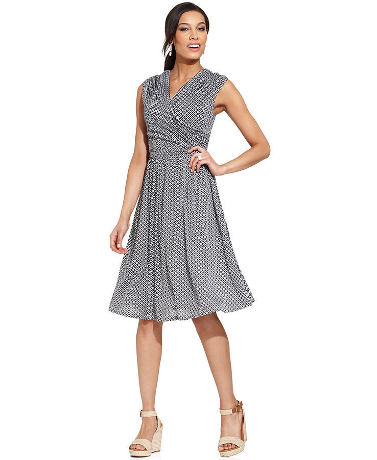 Charter Club Petite Cap-Sleeve Printed Faux-Wrap Dress