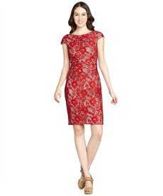 Kay Unger red and nude lace cap sleeve dress