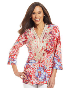Charter Club Three-Quarter-Sleeve Embroidered Tunic Top