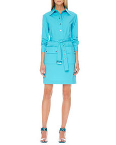 Belted Poplin Shirtdress   Belted Poplin Shirtdress