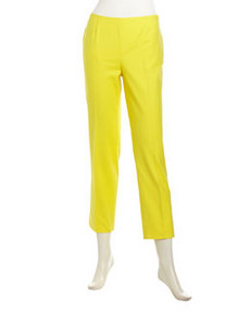 Lafayette 148 New York Cropped Metro-Poplin Ankle Pants, Lemon Drop
