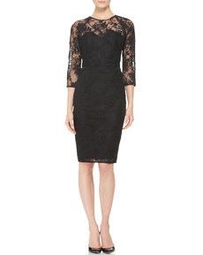 Lela Rose 3/4-Sleeve Lace Dress