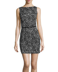 Susana Monaco Spotted Boatneck Jersey Dress, Black