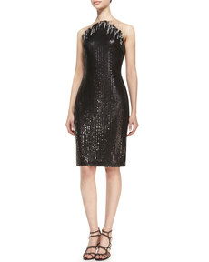 Tadashi Shoji Sleeveless Sequined Cocktail Dress, Black