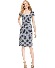 Charter Club Petite Cap-Sleeve Printed A-Line Dress