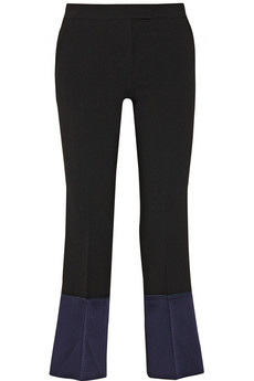 Derek Lam Color-block stretch-wool and satin straight-leg pants