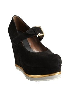 Marni black suede wedge platform mary janes
