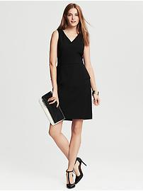 Black Lightweight Wool Peplum Dress