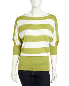 Lafayette 148 New York Striped Bateau-Neck Sweater, Pear