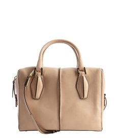 Tod's beige and camel top handle leather bag