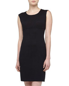 St. John Sleeveless Santana Knit Sheath Dress, Onyx