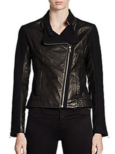Andrew Marc Emmy Texture-Block Leather Moto Jacket