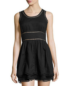 Susana Monaco Sleeveless Fit-And-Flare Eyelet Voile Dress, Black
