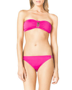 MICHAEL Michael Kors Bandeau Bikini Top with Hardware