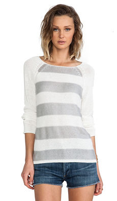 Sanctuary Baseball Stripe Sweater in White