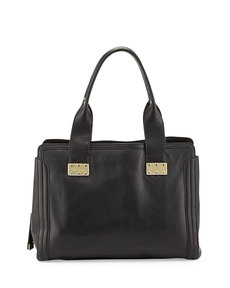 Foley + Corinna Plated Leather Satchel Bag, Black