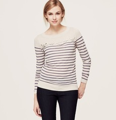 Petite Stripe Embellished Yoke Sweater