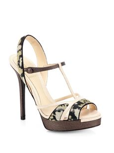 Fendi Zelda Sequin & Leather Platform Sandals