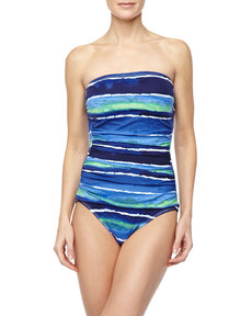 Tommy Bahama Wave-Print Strapless One-Piece Swimsuit