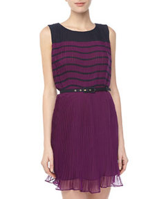 French Connection Plisse Colorblock Dress, Amethyst/Nocturnal