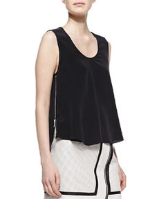 Andrew Marc x Richard Chai Trapeze Silk and Leather Tank