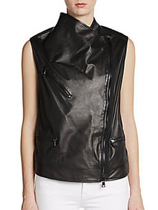 Robert Rodriguez Leather Moto Vest
