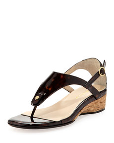 Taryn Rose Kat Patent Leather Strappy Sandal, Tortoise