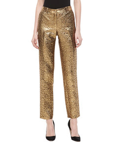 Michael Kors Samantha Pebble Brocade Skinny Pants