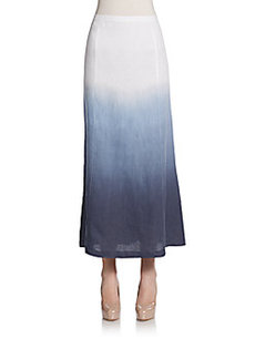 Saks Fifth Avenue BLUE Dip-Dyed Linen Maxi Skirt