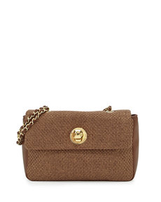 Moschino Borsa Woven Crossbody Bag, Brown