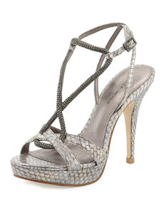 Pelle Moda Vino Metallic Snakeskin Leather Pump, Elephant