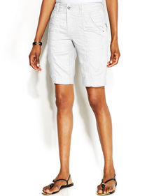 INC International Concepts Lace-Trim Linen Bermuda Shorts