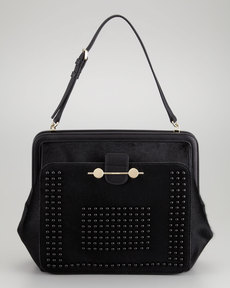 Jason Wu Daphne Studded Calf Hair Shoulder Bag, Black