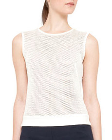 Sleeveless Mesh-Front Top   Sleeveless Mesh-Front Top