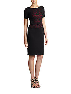 David Meister Lace Inset Dress