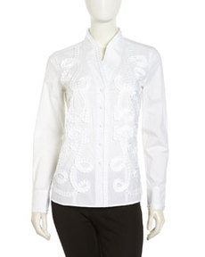 Go Silk Kimono Embellished Stretch Blouse, White