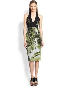 Jean Paul Gaultier Palm-Print Halter Dress