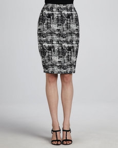 Escada Scribble Tweed Skirt, Black/White