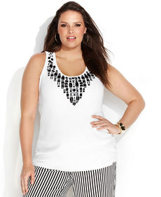 INC International Concepts Plus Size Beaded Tank Top
